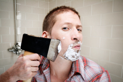 The proper way to shave.